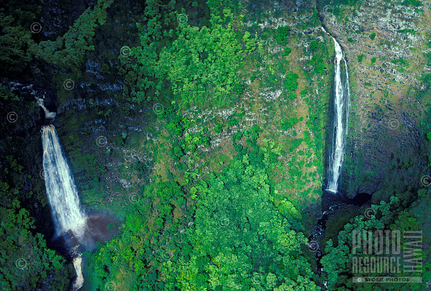 Two waterfalls cascading down into pools surrounded by green lush foliage