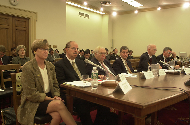 1homedefense100301 -- Homeland defense specialists, from left, Dr. Tara O'toole, Larry Wright, Dr. William Schneider, Peter Morris, Dr. George Whitesides, Dr. Roger Hagengruber, all testify on Wednesday at the Subcommittee on Terrorism and Homeland Security.