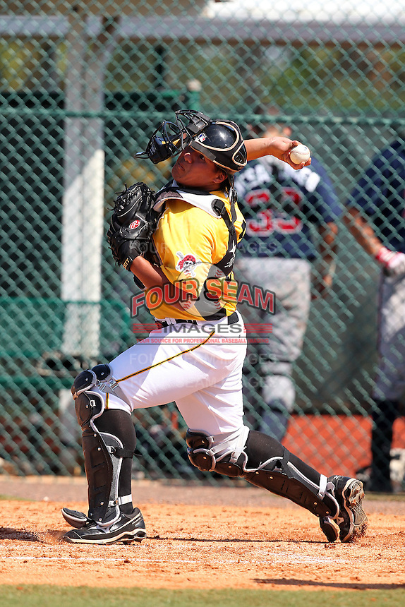 Pittsburgh Pirates catcher Jin-De Jhang #27 throws down to second during an Instructional League game against the Atlanta Braves at Pirate City on October 14, 2011 in Bradenton, Florida.  (Mike Janes/Four Seam Images)