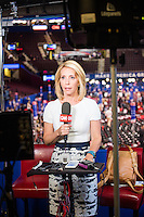 Dana Bash is CNN's Chief Political Correspondent. She is seen here getting ready for a live shot in the standup booth above the delegate floor at the Republican National Convention in the Quicken Loans Arena in Cleveland, Ohio, on Thurs., July 21, 2016. The network's coverage of the the election is called America's Choice 2016.