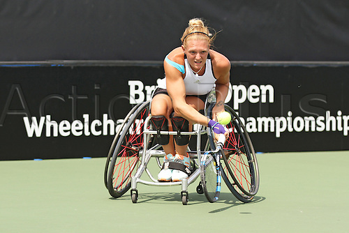 17.07.2015.  Nottingham Tennis Centre, Nottingham, England. British Open Wheelchair Tennis Championships. Jordanne Whiley (GBR) gets low to return a forehand in her match against Jiske Griffioen (NED)