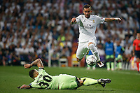 Real Madrid´s Spanish forward Jesé Rodriguez and  Manchester City´s defense  Nicolas Otamendi during the UEFA Champions League match between Real Madrid and Manchester City at the Santiago Bernabeu Stadium in Madrid, Wednesday, May 4, 2016.