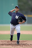 New York Yankees pitcher Daris Vargas (40) during an Instructional League game against the Pittsburgh Pirates on September 18, 2014 at the Pirate City in Bradenton, Florida.  (Mike Janes/Four Seam Images)