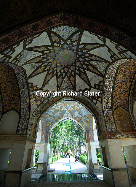 The Fin Garden (Bagh-e Tarikhi-ye-Fin) outside Kashan, Iran, was designed for Shah Abbas I at the beginning of the 17th century. It is famous for its ornate pavilions, bathhouse and teahouse.
