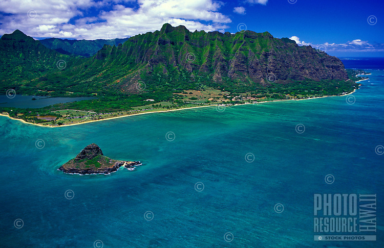 Aerial view of Chinaman's Hat ( Mokolii island) Haloa Ridge and Kaneohe Bay. Located along oahu's windward coast.