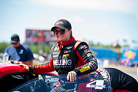 Aug 17, 2019; Brainerd, MN, USA; NHRA pro stock driver Erica Enders during qualifying for the Lucas Oil Nationals at Brainerd International Raceway. Mandatory Credit: Mark J. Rebilas-USA TODAY Sports