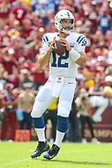 Landover, MD - September 16, 2018: Indianapolis Colts quarterback Andrew Luck (12) in action during the  game between Indianapolis Colts and Washington Redskins at FedEx Field in Landover, MD.   (Photo by Elliott Brown/Media Images International)