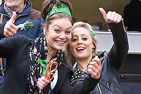 St Patricks Day parade High Street Digbeth.Two girls dressed for it probably near the Alcester St junction of the High Street