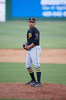 Bristol Pirates relief pitcher Argenis Romano (36) gets ready to deliver a pitch during a game against the Elizabethton Twins on July 29, 2018 at Joe O'Brien Field in Elizabethton, Tennessee.  Bristol defeated Elizabethton 7-4.  (Mike Janes/Four Seam Images)