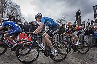 Wout Van Aert (BEL/Veranda's Willems - Crelan) and Belgian Champion Oliver Naesen (BEL/AG2R La Mondiale) up the 3th passage of the Oude Kwaremont.<br /> <br /> 102nd Ronde van Vlaanderen 2018<br /> 1day race: Antwerp &rsaquo; Oudenaarde - BEL (265k)
