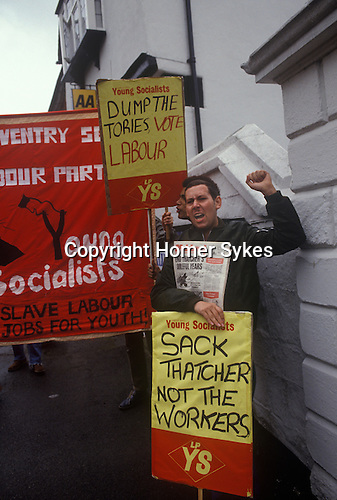 Young Socalist protest. Socalist Workers party oppose Maggie Margaret Thatcher of the Conservative party on the General Election campaign trail 1983.