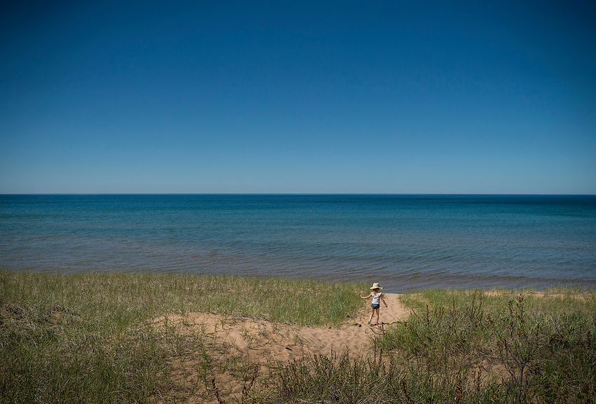 Kids at a Lake Superior beach on Michigan's Upper Peninsula.