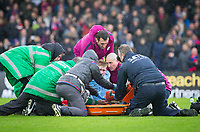 Kevin De Bruyne of Manchester City is taken off on a stretcher injured in the final minutes of the match during the Premier League match between Crystal Palace and Manchester City at Selhurst Park, London, England on 31 December 2017. Photo by Andy Rowland.