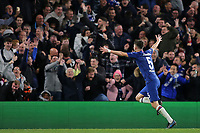 Jorginho runs towards the home fans thinking Chelsea have scored a fifth goal, but moments later it was ruled out for handball during Chelsea vs AFC Ajax, UEFA Champions League Football at Stamford Bridge on 5th November 2019