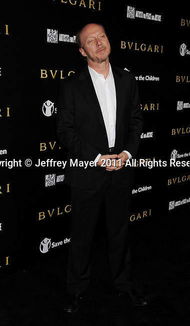 LOS ANGELES, CA - January 13: Paul Haggis  attends Save The Children's U.S. Programs And Artists For Peace And Justice Hosted By Bulgari at Ron Burkle's Green Acres Estate on January 13, 2011 in Beverly Hills, California.