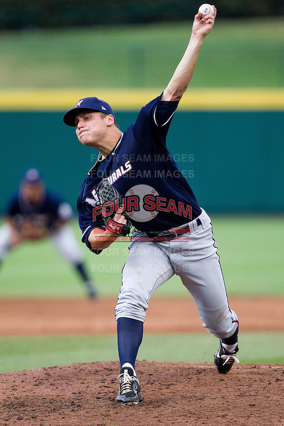 Chris Dwyer (28) of the Northwest Arkansas Naturals delivers a pitch during a game against the Springfield Cardinals at Hammons Field on July 31, 2011 in Springfield, Missouri. Northwest Arkansas defeated Springfield 9-1. (David Welker / Four Seam Images)