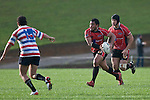 Haani Halaeua attacks the Tasman midfield. Air New Zealand Air NZ Cup warm-up rugby game between the Counties Manukau Steelers & Tasman Mako's, played at Growers Stadium Pukekohe on Sunday July 20th 2008..Counties Manukau won the match 30 - 7.