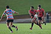 Haani Halaeua attacks the Tasman midfield. Air New Zealand Air NZ Cup warm-up rugby game between the Counties Manukau Steelers & Tasman Mako's, played at Growers Stadium Pukekohe on Sunday July 20th 2008..Counties Manukau won the match 30 - 7.