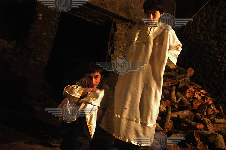 Altar boys in the Church of Saint David..