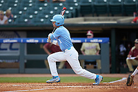 Brandon Riley (1) of the North Carolina Tar Heels follows through on his swing against the Florida State Seminoles in the 2017 ACC Baseball Championship Game at Louisville Slugger Field on May 28, 2017 in Louisville, Kentucky. The Seminoles defeated the Tar Heels 7-3. (Brian Westerholt/Four Seam Images)