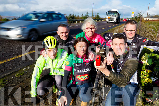 Killarney Cycling club members who are wearing cameras on theis bikes front row l-r: Conor Kissane, Theresa White, Patrick Clifford. Back row: Jimmy Carton, Joan McCarthy and Mark Williams