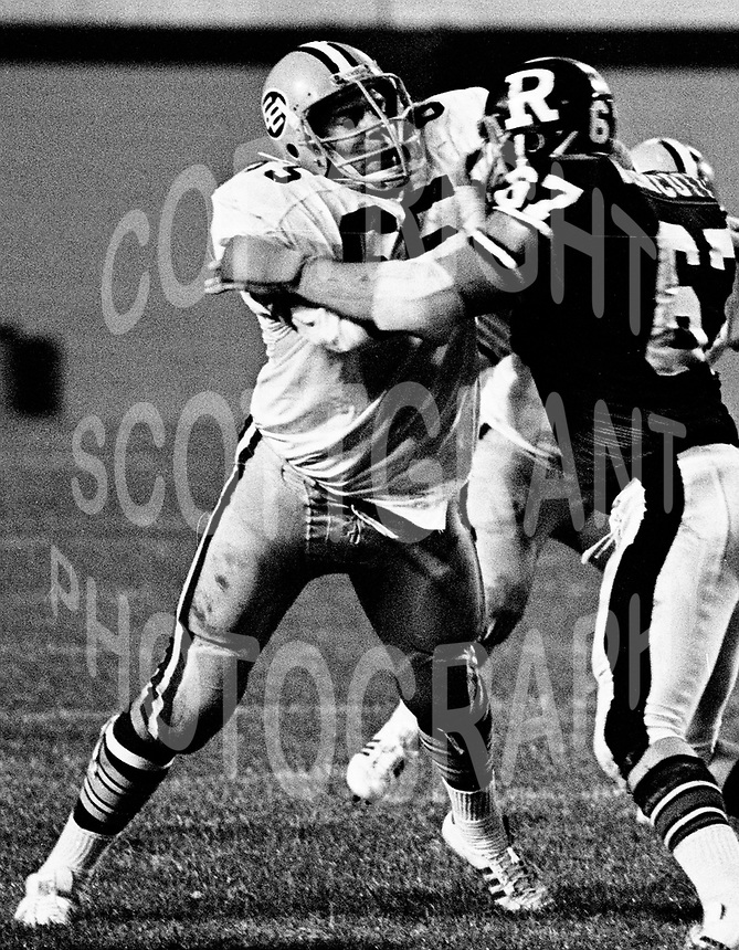 Dave Fennell Edmonton Eskimos 1975. Photo copyright Scott Grant.