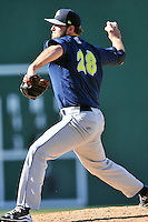 Pitcher Joe Shaw (28) of the Columbia Fireflies delivers a pitch in a game against the Greenville Drive on Sunday, April 24, 2016, at Fluor Field at the West End in Greenville, South Carolina. Greenville won, 5-1. (Tom Priddy/Four Seam Images)