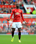 Paul Pogba of Manchester United gestures during the Premier League match at Old Trafford Stadium, Manchester. Picture date: September 24th, 2016. Pic Sportimage