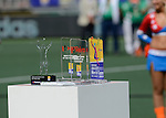 The Hague, Netherlands, June 15: The trophies for men´s best goal, men´s best player, men´s best junior player, men´s topscorer and men´s best goalkeeper of the Hockey World Cup 2014 before the prize giving ceremony on June 15, 2014 during the World Cup 2014 at Kyocera Stadium in The Hague, Netherlands. (Photo by Dirk Markgraf / www.265-images.com) *** Local caption ***