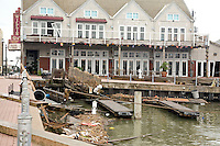 Damage to the anchorage beside the Harbor House and Willie G's from Hurricane ike.