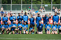Kansas City, MO - Saturday May 13, 2017:  Alexa Newfield, Sydney Leroux, Brittany Taylor, Yael Averbuch, Lo'eau Labonta, Becca Moros, Shea Groom, Nicole Barnhart prior to a regular season National Women's Soccer League (NWSL) match between FC Kansas City and the Portland Thorns FC at Children's Mercy Victory Field.