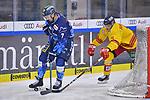 Colton Jobke (Nr.7 - ERC Ingolstadt) und Johannes Johannessen (Nr.4 - Duesseldorfer EG) hinter dem Tor von Torwart Mathias Niederberger (Nr.35 - Duesseldorfer EG) beim Spiel in der DEL, ERC Ingolstadt (dunkel) - Duesseldorfer EG (hell).<br /> <br /> Foto © PIX-Sportfotos *** Foto ist honorarpflichtig! *** Auf Anfrage in hoeherer Qualitaet/Aufloesung. Belegexemplar erbeten. Veroeffentlichung ausschliesslich fuer journalistisch-publizistische Zwecke. For editorial use only.