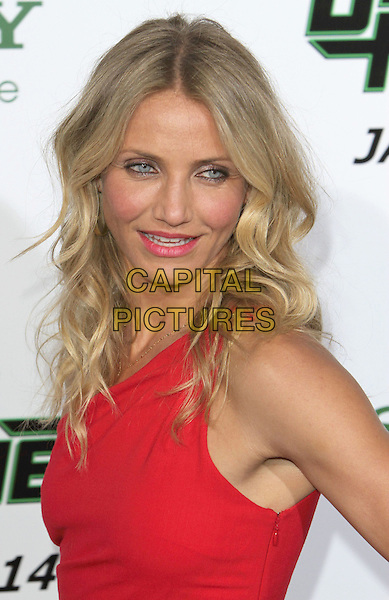 "CAMERON DIAZ .Attending ""The Green Hornet"" Los Angeles Premiere held at Grauman's Chinese Theatre, Hollywood, California, USA, 10th January 2011..portrait headshot make-up beauty red one shoulder pink lipstick wavy hair tanned bronzer eyeliner gold necklace mouth open side .CAP/ADM/CH.©Charles Harris/AdMedia/Capital Pictures"