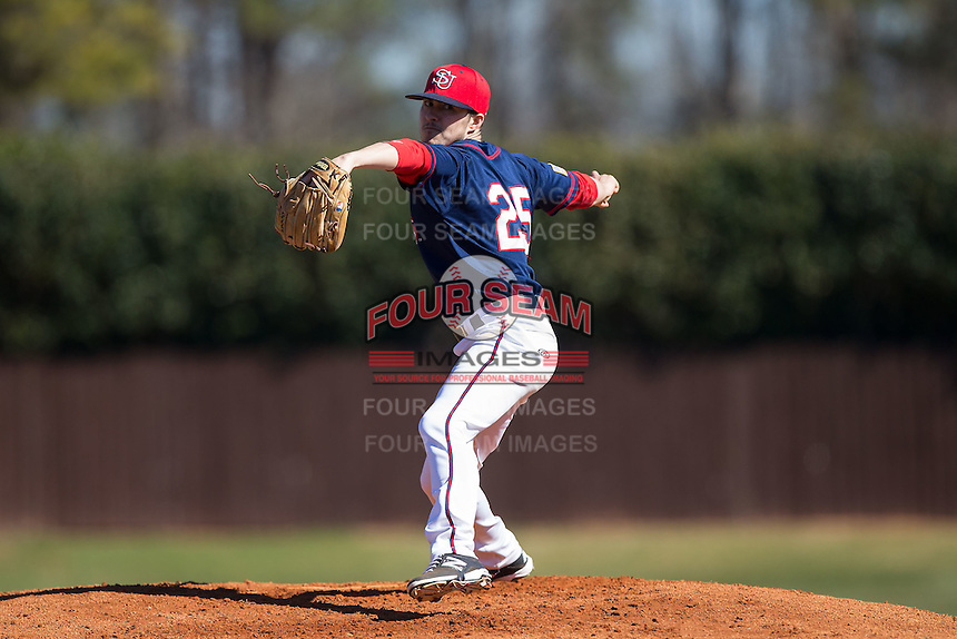 Shippensburg Raiders starting pitcher Rich Michaud (25) in action against the Belmont Abbey Crusaders at Abbey Yard on February 8, 2015 in Belmont, North Carolina.  The Raiders defeated the Crusaders 14-0.  (Brian Westerholt/Four Seam Images)