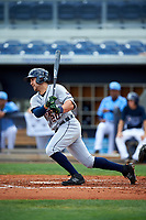 Lakeland Flying Tigers left fielder Ross Kivett (20) follows through on a swing during a game against the Charlotte Stone Crabs on April 16, 2017 at Charlotte Sports Park in Port Charlotte, Florida.  Lakeland defeated Charlotte 4-2.  (Mike Janes/Four Seam Images)
