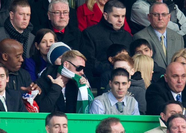 Ronan Keating adjusts his Celtic scarf