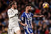 3rd February 2019, Santiago Bernabeu, Madrid, Spain; La Liga football, Real Madrid versus Alaves; Gareth Bale (Real Madrid)  wins the header from Ruben Duarte (Deportivo Alaves)