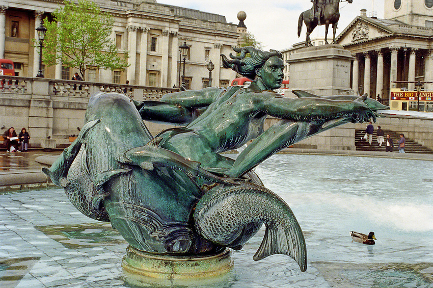 A siren's call beckons the weary seaman into the cold embrace of the deep, Trafalgar Square, London, England