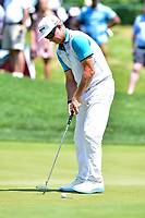 Bethesda, MD - July 1, 2018: Brian Gay sinks a putt on the 7th hole during final round of professional play at the Quicken Loans National Tournament at TPC Potomac at Avenel Farm in Bethesda, MD.  (Photo by Phillip Peters/Media Images International)