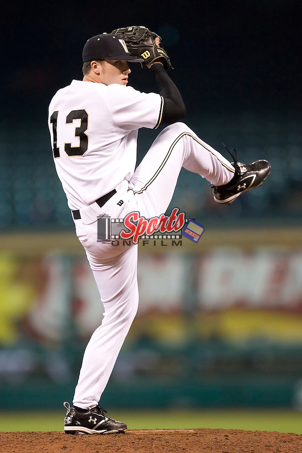 Vanderbilt's Stephen Shao (13) winds up to deliver a pitch versus Arizona State at the 2007 Houston College Classic at Minute Maid Park in Houston, TX, Saturday, February 10, 2007.  The Commodores defeated the Sun Devils 7-6 in 10 innings.