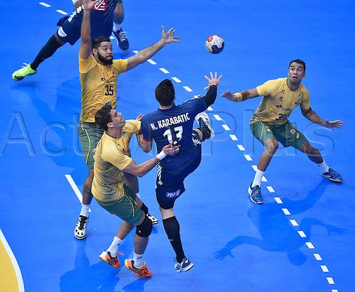11.01.2017. Accor Arena, Paris, France. 25th World Handball Championships France versus Brazil. Nikola Karabatic (France)