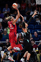 Washington, DC - August 25, 2019: Washington Mystics forward Elena Delle Donne (11) connects on a hook shot over New York Liberty center Amanda Zahui B. (17) during first half action of game between the New York Liberty and the Washington Mystics at the Entertainment and Sports Arena in Washington, DC. The Mystics defeated New York 101-72. (Photo by Phil Peters/Media Images International)