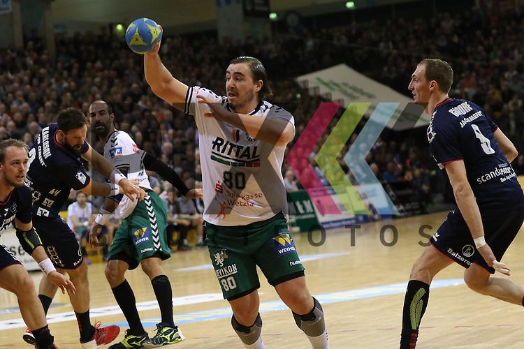 Flensburg, 15.03.16, Sport, Handball, DKB Handball Bundesliga, SG Flensburg-Handewitt-HSG Wetzlar : Jannik Kohlbacher (HSG Wetzlar, #80)<br /> <br /> Foto &copy; PIX-Sportfotos *** Foto ist honorarpflichtig! *** Auf Anfrage in hoeherer Qualitaet/Aufloesung. Belegexemplar erbeten. Veroeffentlichung ausschliesslich fuer journalistisch-publizistische Zwecke. For editorial use only.