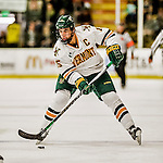 24 October 2015: University of Vermont Catamount Defenseman Yvan Pattyn, a Senior from St. Anne, Manitoba, in second period action against the University of North Dakota at Gutterson Fieldhouse in Burlington, Vermont. North Dakota defeated the Catamounts 5-2 in the second game of their weekend series. Mandatory Credit: Ed Wolfstein Photo *** RAW (NEF) Image File Available ***