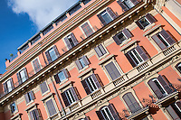Exterior detail of a hotel, Rome, Italy