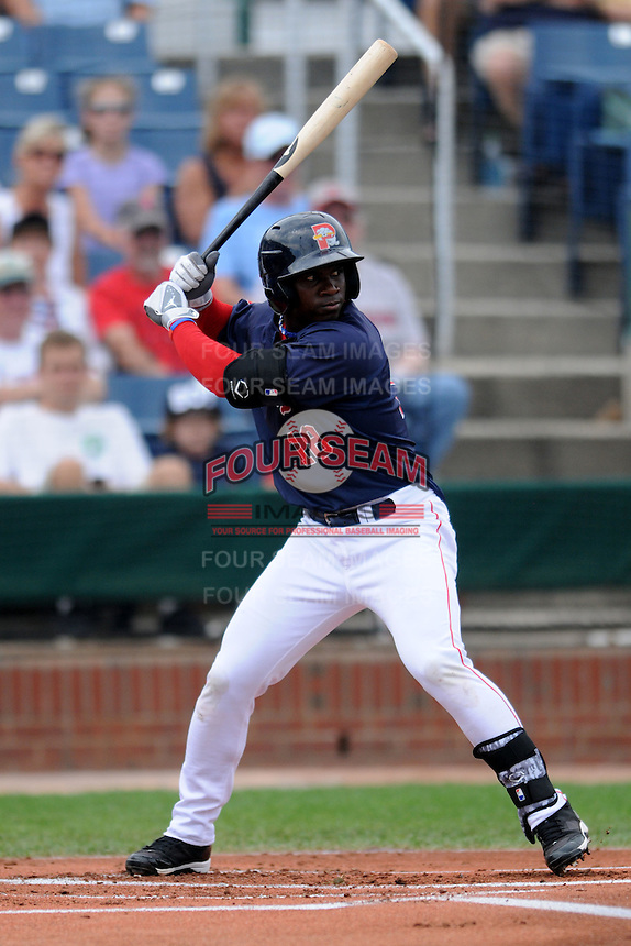 Portland Sea Dogs center fielder Rusney Castillo (18) at bat during an Eastern League Semifinal Playoff game versus the Binghamton Mets at Hadlock Field in Portland, Maine on September 6, 2014.  (Ken Babbitt/Four Seam Images)