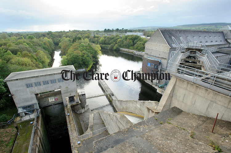 A view of the fish pass and lock on the dam at Ardnacrusha Generating Station. Photograph by John Kelly.