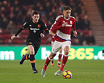Gaston Ramirez of Middlesbrough running beyond Andrew Robertson of Hull City during the English Premier League match at Riverside Stadium, Middlesbrough. Picture date: December 5th, 2016. Pic Jamie Tyerman/Sportimage