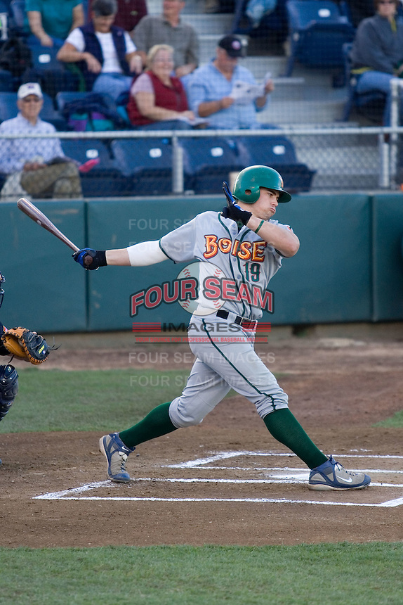 July 19, 2007: Boise Hawks' shortstop Dylan Johnston takes a swing during an at-bat against the Everett AquaSox in a Northwest League game at Everett Memorial Stadium in Everett, Washington.