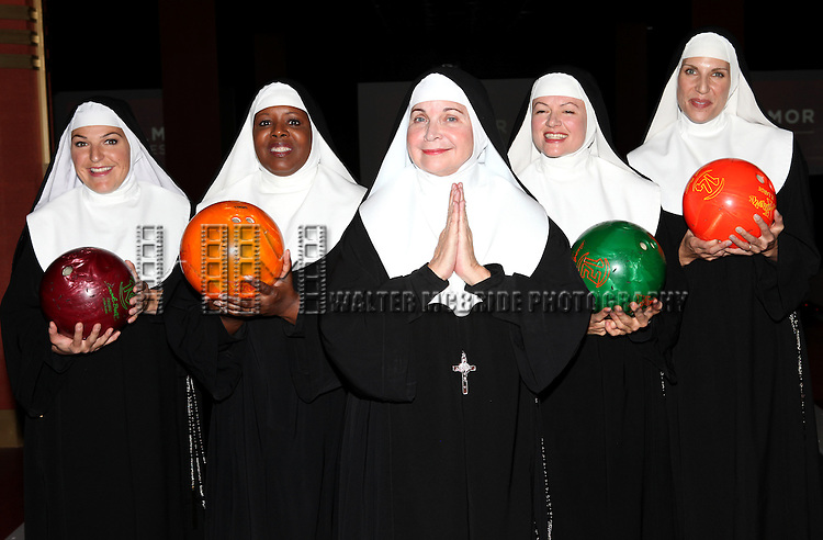 Christine Mild, Bambi Jones, Cindy Williams, Jeanne Tinker and Stephanie Wahl  performing a preview of 'Nunset Boulevard: The Nunsense Hollywood Bowl Show' at the Bowlmor Lanes Thursday, Sept. 27, 2012 in Times Square, New York.